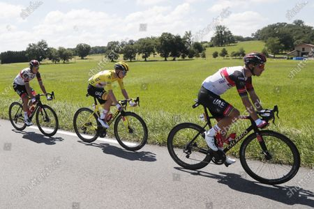 (L-R) Italian rider Davide Formolo of the UAE-Team Emirates with teammates Yellow Jersey Slovenian rider Tadej Pogacar and Portuguese rider Rui Costa in action during the 19th stage of the Tour de France 2021 over 207 km from Mourenx to Libourne, France, 16 July 2021.