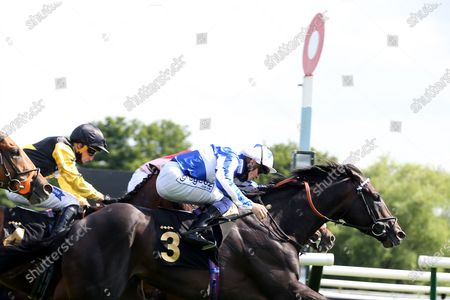 Stock Image of POSSIBLE MAN (3) ridden by David Probert and trained by Sir Michael Stoute winning The Class 3 Mansionbet Best Ods Guaranteed Handicap Stakes over 1m 2f (£11,500) in a Photo Finish at Nottingham Racecourse, Nottingham