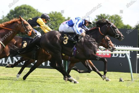 POSSIBLE MAN (3) ridden by David Probert and trained by Sir Michael Stoute winning The Class 3 Mansionbet Best Ods Guaranteed Handicap Stakes over 1m 2f (£11,500) in a Photo Finish at Nottingham Racecourse, Nottingham
