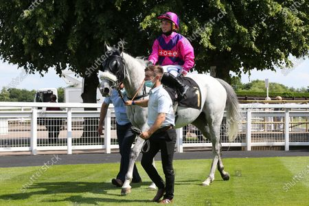 CASE KEY (1) ridden by Frederick Larson and trained by Michael Appleby enter the Winners Enclosure after winning The Mansionbet Watch And Bet Handicap Stakes over 6f (£5,527)  at Nottingham Racecourse, Nottingham
