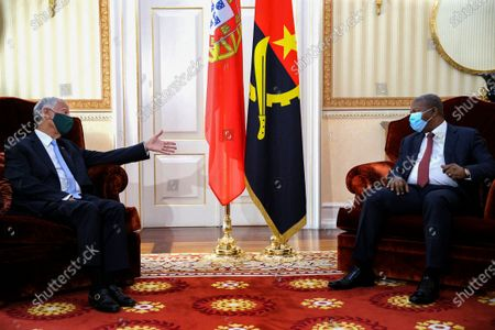 Stock Image of Portuguese President Marcelo Rebelo de Sousa (L) during an audience with the President of the Republic of Angola Joao Lourenço (R), at the Presidential Palace, in Luanda, Angola, 16 July 2021. Portuguese President Marcelo Rebelo de Sousa is taking part in the 13th Conference of Heads of State and Government of the Community of Portuguese-speaking Countries (CPLP), to be held on 16 and 17 July, marking the organisation's 25th anniversary.