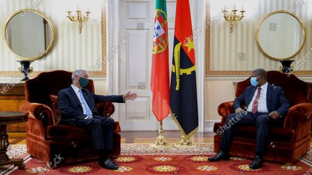 Stock Picture of Portuguese President Marcelo Rebelo de Sousa (L) during an audience with the President of the Republic of Angola Joao Lourenço (R), at the Presidential Palace, in Luanda, Angola, 16 July 2021. Portuguese President Marcelo Rebelo de Sousa is taking part in the 13th Conference of Heads of State and Government of the Community of Portuguese-speaking Countries (CPLP), to be held on 16 and 17 July, marking the organisation's 25th anniversary.
