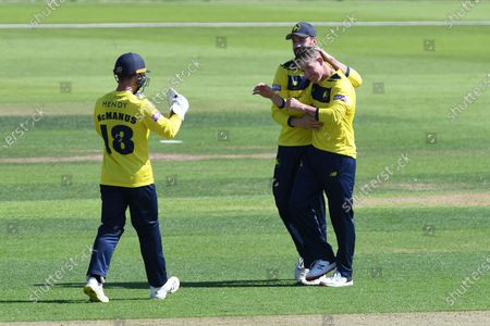 Wicket. 92 - 3.  James Vince and D'Arcy Short celebrate the dismissal of Jimmy Neesham during the Vitality T20 Blast South Group match between Hampshire County Cricket Club and Essex County Cricket Club at the Ageas Bowl, Southampton