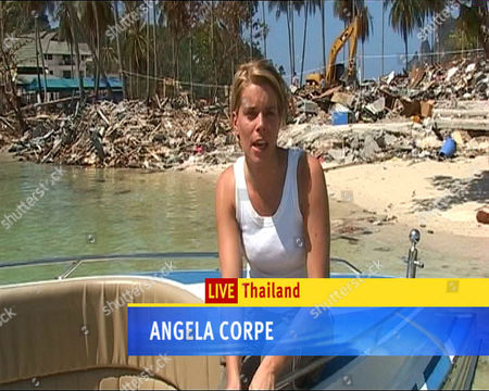 Stock Photo of GMTV Presenter and Reporter Angela Corpe reporting from Thailand