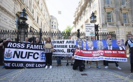 Editorial picture of Newcastle fans protest, Downing Street, London, UK - 16 Jul 2021