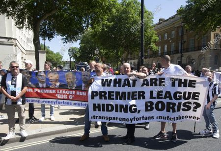 Editorial image of Newcastle fans protest, Downing Street, London, UK - 16 Jul 2021