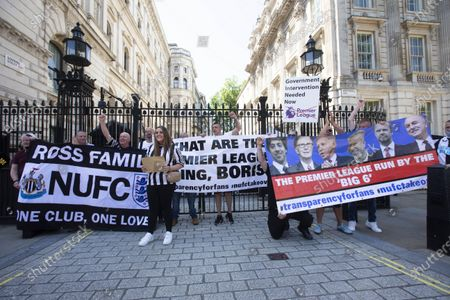 Editorial photo of Newcastle fans protest, Downing Street, London, UK - 16 Jul 2021