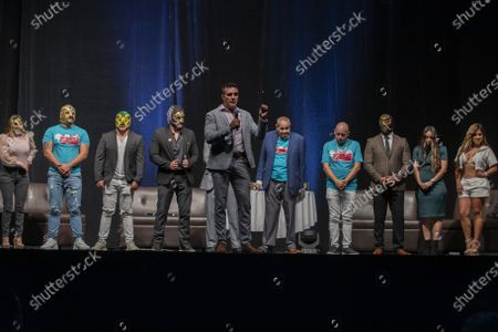 Wrestlers Dos Caras Jr, Dos Caras, Cinta de Oro, Reina de Chocolate, Diosa Quetzal and Alberto Del Rio and Fernando Robles during a press conference to promote 'Made in Mexico' wrestling event by Robles Patron Promotions, with the participation of international wrestlers and legends at the Pepsi Center