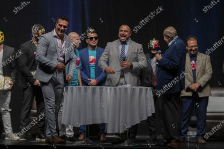 Wrestler Texano Jr and Alberto Del Rio during a press conference to promote 'Made in Mexico' wrestling event by Robles Patron Promotions, with the participation of international wrestlers and legends at the Pepsi Center