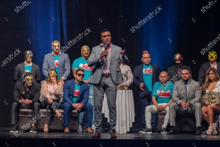 Alberto Del Rio speaks during a press conference to promote 'Made in Mexico' wrestling event by Robles Patron Promotions, with the participation of international wrestlers and legends at the Pepsi Center