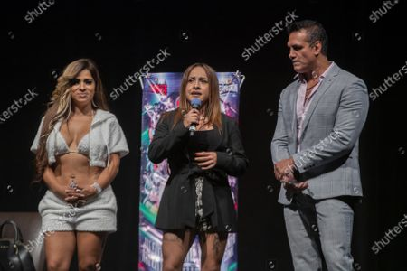 Stock Image of Wrestlers Reina de Chocolate, Diosa Quetzal and Alberto Del Rio during a press conference to promote 'Made in Mexico' wrestling event by Robles Patron Promotions, with the participation of international wrestlers and legends at the Pepsi Center