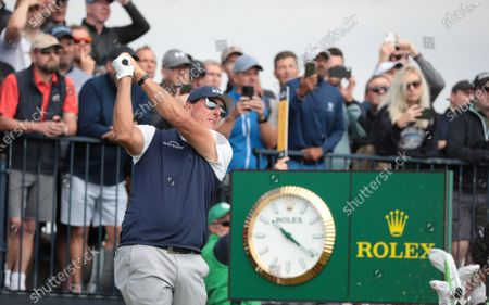 Stock Photo of Phil Mickelson of the USA tees off on the fourth hole on day two of the Open Championship at Royal St George's in Sandwich, Kent on Friday, July 16, 2021.