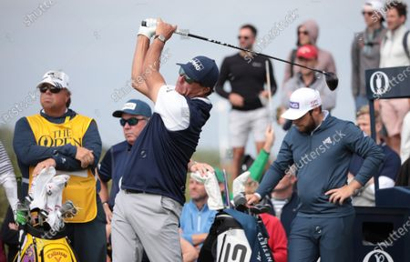 Stock Image of Phil Mickelson of the USA tees off on the fifth hole on day two of the Open Championship at Royal St George's in Sandwich, Kent on Friday, July 16, 2021.