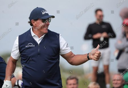 Phil Mickelson of the USA smiles on the fifth hole on day two of the Open Championship at Royal St George's in Sandwich, Kent on Friday, July 16, 2021.