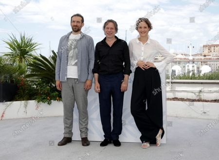 Arieh Worthalter,  Mathieu Amalric and  Vicky Krieps pose during the photocall for 'Serre Moi Fort' (Hold Me Tight) at the 74th annual Cannes Film Festival, in Cannes, France, 16 July 2021. The festival runs from 06 to 17 July.