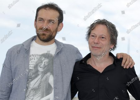 Arieh Worthalter (L) and Mathieu Amalric pose during the photocall for 'Serre Moi Fort' (Hold Me Tight) at the 74th annual Cannes Film Festival, in Cannes, France, 16 July 2021. The festival runs from 06 to 17 July.