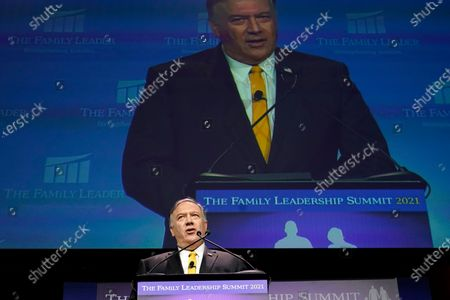 Former Secretary of State Mike Pompeo speaks during the Family Leadership Summit, in Des Moines, Iowa