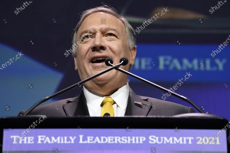 Stock Picture of Former Secretary of State Mike Pompeo speaks during the Family Leadership Summit, in Des Moines, Iowa