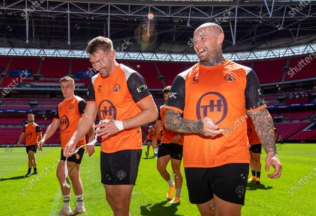 Stock Image of Castleford's Michael Shenton & Nathan Massey during the captain's run session.
