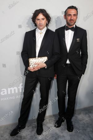 Nicolas Maury (L) and guest attend the Cinema Against AIDS amfAR gala 2021 held at the Hotel du Cap, Eden Roc in Cap d'Antibes, France, 16 July 2021, within the scope of the 74th annual Cannes Film Festival.