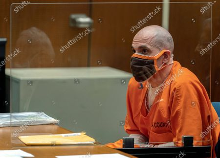 """Michael Thomas Gargiulo listens during a sentencing hearing at Los Angeles Superior Court, . Gargiulo has pleaded not guilty to two counts of murder and an attempted-murder charge stemming from attacks in the Los Angeles area between 2001 and 2008, including the death of Kutcher's former girlfriend, 22-year-old Ashley Ellerin. A judge denied a new trial for Garigiulo, a man prosecutors called """"The Boy Next Door Killer,"""" who could be sentenced to death later Friday for the home-invasion murders of two women and the attempted murder of a third"""