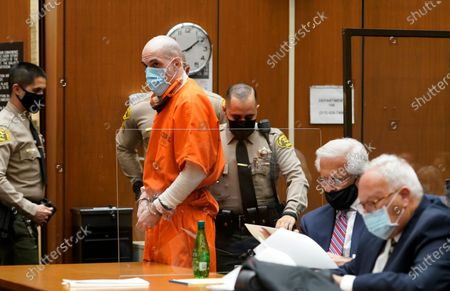 """Michael Thomas Gargiulo, standing, with his defense attorneys, Daniel Nardoni, middle, and Dale Michael Rubin, right, during a sentencing hearing at Los Angeles Superior Court, . For crimes he called """"vicious and frightening,"""" Los Angeles Superior Court Judge Larry P. Fidler on Friday gave a death sentence to Gargiulo who prosecutors called """"The Boy Next Door Killer"""" for the home-invasion murders of two women and the attempted murder of a third"""
