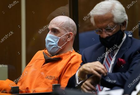 """Serial killer Michael Thomas Gargiulo, left, with his attorney Daniel Nardoni, reacts as Los Angeles Superior Court Judge Larry P. Fidler reads his sentencing at Los Angeles Superior Court, . Judge Fidler gave a death sentence to Gargiulo, who prosecutors called """"The Boy Next Door Killer"""" for the home-invasion murders of two women and the attempted murder of a third"""