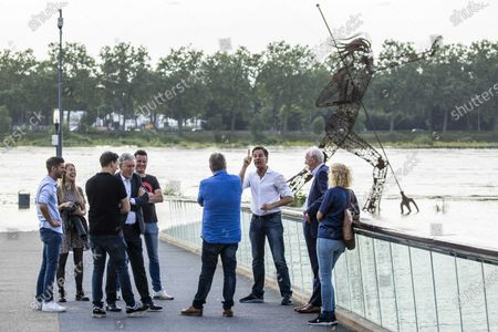 Dutch Prime Minister Mark Rutte (3-R) speaks with people affected by the floodings in Venlo, the Netherlands, 16 July 2021. Heavy rainfall has led to floods in various parts of the Netherlands and central Europe