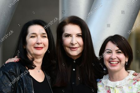 """The artist Marina Abramovic with the curators of the exhibition Zdenka Badovinac and Giulia Ferracci, participates in the talk on the occasion of the exhibition """"Più grande di me"""" (Bigger Than Me). Heroic voices from the former Yugoslavia, in which she too is present with her opera Rhythm 0, one of her best known and most demanding interpretations"""