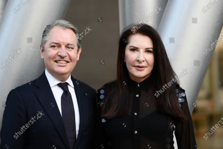 """Stock Image of The artist Marina Abramovic with Umberto Giraudo Guest Relations Manager - Rome Cavalieri At the Waldorf Astoria Hotel, she participates in the talk on the occasion of the exhibition """"Più grande di me"""" (Bigger Than Me). Heroic voices from the former Yugoslavia, in which she too is present with her opera Rhythm 0, one of her best known and most demanding interpretations"""