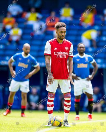 Arsenal's Pierre-Emerick Aubameyang starts the pre season friendly match at Ibrox Stadium, Glasgow.