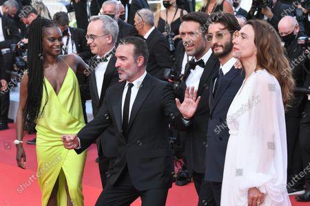 Stock Photo of Fatou N'Diaye, Jean Dujardin, Nicolas Bedos, Pierre Niney and Natacha Lindinger