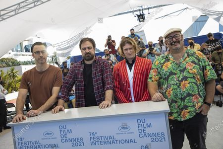 Shaun Grant, from left, director Justin Kurzel, Caleb Landry Jones, and Nick Batzias pose for photographers at the photo call for the film 'Nitram' at the 74th international film festival, Cannes, southern France