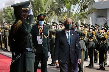Portuguese President Marcelo Rebelo de Sousa (R) arrives to participate in the 13th Conference of Heads of State and Government of the Community of Portuguese-speaking Countries (CPLP), in Luanda, Angola, 17 July 2021.
