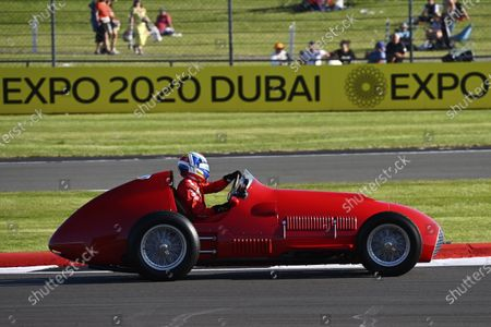 Stock Image of Marc Gene demonstrates a 1951 Ferrari 375, to commemorate the Jose Froilan Gonzalez victory at Silverstone, 70 years ago during the 2021 Formula One British Grand Prix