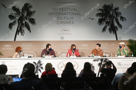 Stock Picture of Moderator Caroline Vie, director Justin Kurzel, Caleb Landry Jones, Shaun Grant and Nick Batzias attend the press conference for 'Nitram' during the 74th annual Cannes Film Festival, in Cannes, France, 17 July 2021. The movie is presented in the Official Competition of the festival which runs from 06 to 17 July.