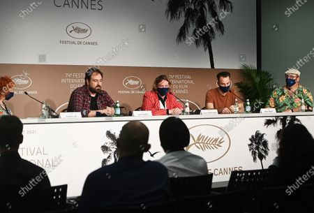 Moderator Caroline Vie, director Justin Kurzel, Caleb Landry Jones, Shaun Grant and Nick Batzias attend the press conference for 'Nitram' during the 74th annual Cannes Film Festival, in Cannes, France, 17 July 2021. The movie is presented in the Official Competition of the festival which runs from 06 to 17 July.