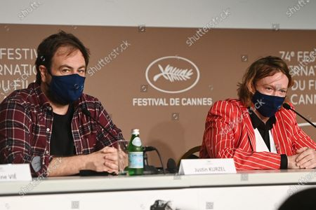Justin Kurzel (L) and Caleb Landry Jones attend the press conference for 'Nitram' during the 74th annual Cannes Film Festival, in Cannes, France, 17 July 2021. The movie is presented in the Official Competition of the festival which runs from 06 to 17 July.