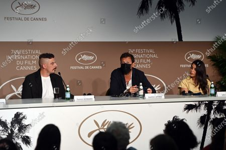 Damien Bonnard, Joachim Lafosse and Leïla Bekhti attend the press conference for 'Les Intranquilles (The Restless)' during the 74th annual Cannes Film Festival, in Cannes, France, 17 July 2021. The movie is presented in the Official Competition of the festival which runs from 06 to 17 July.