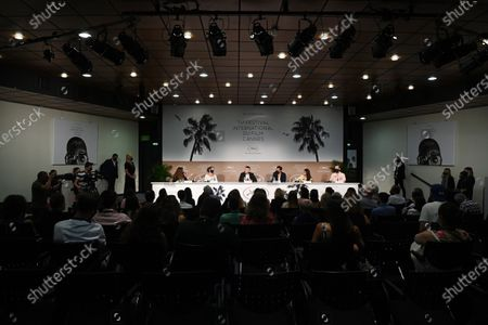 (2L-R) Marie-Helene Dozo, Damien Bonnard, Joachim Lafosse, Leïla Bekhti, and Jean-Francois Hensgens attend the press conference for 'Les Intranquilles (The Restless)' during the 74th annual Cannes Film Festival, in Cannes, France, 17 July 2021. The movie is presented in the Official Competition of the festival which runs from 06 to 17 July.