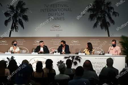 Marie-Helene Dozo, Damien Bonnard, Joachim Lafosse, Leïla Bekhti, and Jean-Francois Hensgens attend the press conference for 'Les Intranquilles (The Restless)' during the 74th annual Cannes Film Festival, in Cannes, France, 17 July 2021. The movie is presented in the Official Competition of the festival which runs from 06 to 17 July.