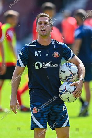 Sunderland SFC first team coach, Andrew Taylor during the warm up before the Pre-Season Friendly match between Heart of Midlothian and Sunderland AFC at Tynecastle Park, Edinburgh