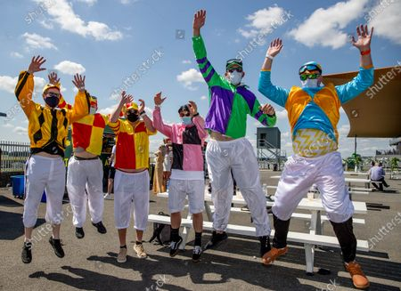 Stock Photo of Michael McNamara, Cormac Loftus, Dennon Bell, Paddy Dunne, Kevin Dunne and Kyle Wilkinson enjoying themselves at The Curragh