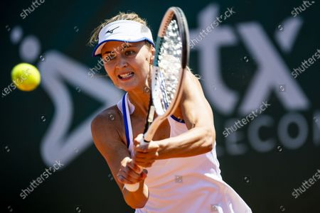 Maryna Zanevska of Belgium returns to Tamara Zidansek of Slovenia during the semifinal match at the WTA International Ladies open Lausanne tournament, in Lausanne, Switzerland, 17 July 2021.