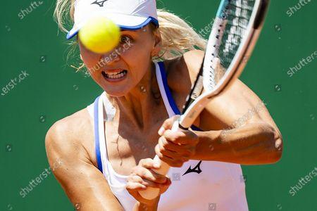 Maryna Zanevska of Belgium in action against Tamara Zidansek of Slovenia during their semi final match at the WTA International Ladies open Lausanne tournament, in Lausanne, Switzerland, 17 July 2021.