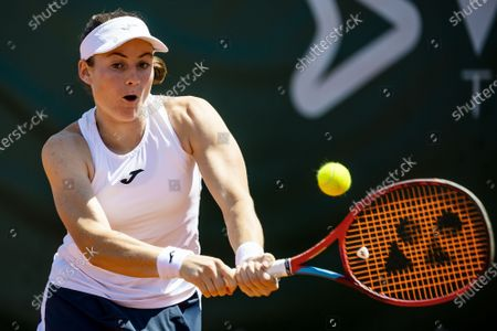 Tamara Zidansek of Slovenia in action against Maryna Zanevska of Belgium during their semi final match at the WTA International Ladies open Lausanne tournament, in Lausanne, Switzerland, 17 July 2021.