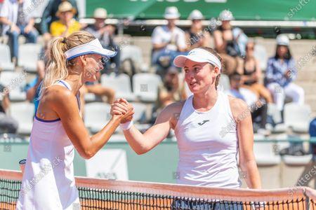 Lausanne Switzerland, 07/17/2021: Gesture of friendship between Maryna Zanevska from Belgium and Tamara Zidansek from Slovenia and during the Semi-final of the Lausanne 2021 WTA 250 tennis tournament