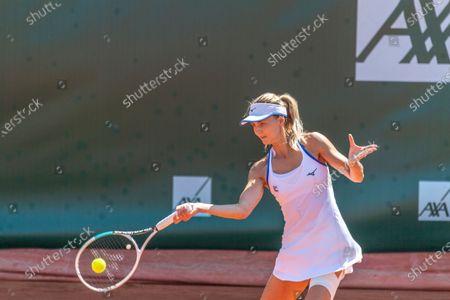 Lausanne Switzerland, 07/17/2021: Maryna Zanevska of Belgium is in action during the Semi-final, Lausanne 2021 tennis tournament WTA 250