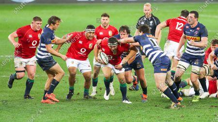 Jamie George of British and Irish Lions breaks with Mako Vunipola of British and Irish Lions (to his left)