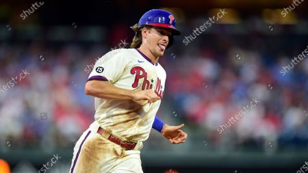 Philadelphia Phillies' Luke Williams in action during a baseball game against the Miami Marlins, in Philadelphia